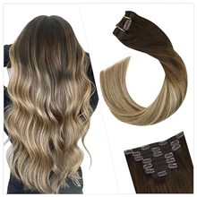 Ugeat Clip on Hair Extensions Real Remy Human Hair Highlight Blonde Color Full Head Balayage Clip in Hair Extensions 100g/7Pcs