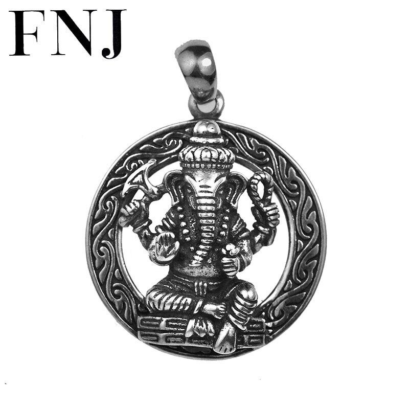 FNJ 925 pendentif en argent éléphant chanceux Animal Original pur S925 Thai argent pendentifs pour la fabrication de bijoux hommes femmes