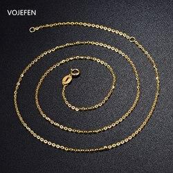 VOJEFEN AU750 18 k collier en or pur pour femmes/hommes, or jaune 18 K & Rose véritable chaîne en or pendentif collier bijoux pour femmes