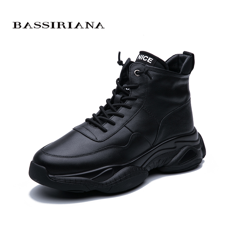 BASSIRIANA New 2019 Winter Men's Leather Casual Shoes Warm Shoes Black Men's Shoes Free Shipping