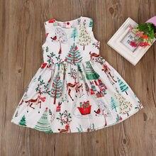 2019 NEW Cute Kids Baby Girl Christmas Cartoon Deer Sleeveless Princess Party Tutu Dress deer Tree Floral Print High Waist Dress