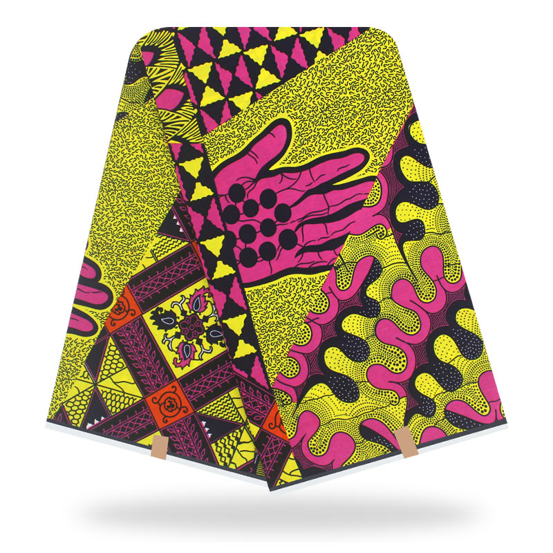 Ankara Real Wax Prints Cotton Fabric Palm Pattern High Quality African Fabric For Party Dress
