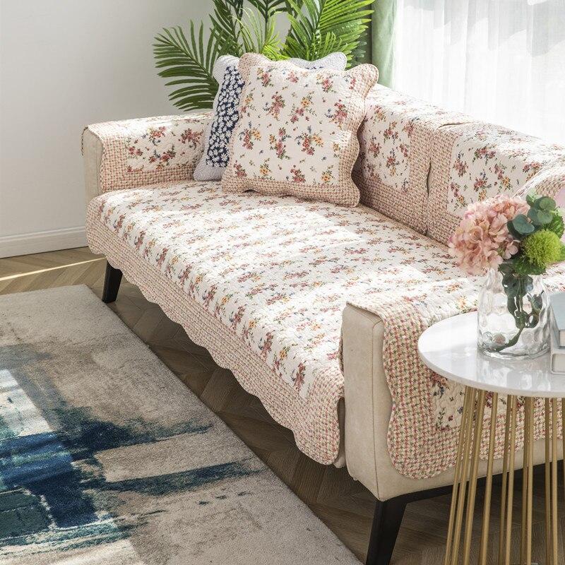 Korean style printed sofa cover four seasons pastoral cotton