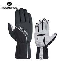 ROCKBROS Thermal Cycling Gloves Windproof Ski Bike Bicycle Gloves MTB Road Anti slip Pad Warm Motorcycle Sport Mitten Black