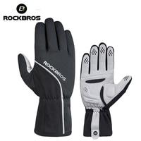 ROCKBROS Thermal Cycling Gloves Windproof Ski Bike Bicycle Gloves MTB Road Anti slip Pad Warm Motorcycle Sport Mitten Black