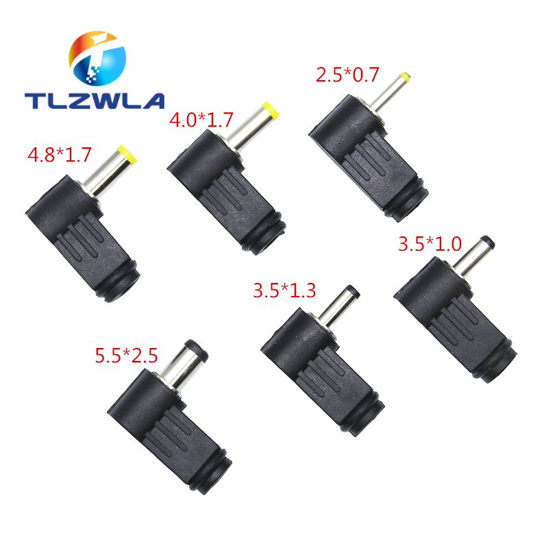 1Pcs DC plug 90 degree elbow 5.5*2.1mm DC power plug wiring assembly 5.5*2.5mm welding wire type 4.8x1.7mm 4.0x1.7mm 3.5x1.35mm|Connectors| |  - title=