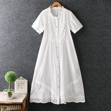 Lilita lace patchwork lacing single breasted lace ruffled collar short sleeve cotton dress