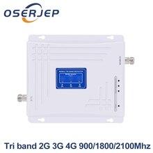 トライバンド2グラム3グラム4グラム信号ブースター900mhz 1800mhz 2100mhz gsm wcdma umts lteセルラーリピータトライバンド900/1800/2100アンプ