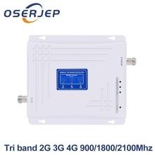 Trị Ban Nhạc 2G 3G 4G Tăng Cường Tín Hiệu 900MHz 1800MHz 2100MHz GSM WCDMA UMTS LTE tế Bào Repeater Triband 900/1800/2100Mhz Khuếch Đại