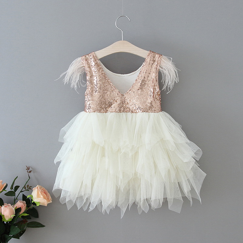 69-14-Feather Sequins Tiered Girls Dress