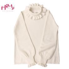 Turtleneck White Knitted Sweater Women Knitwear Autumn 2020 Vintage Ruffle Cute Girls Long Sleeve Red Jumper Christmas Sweaters