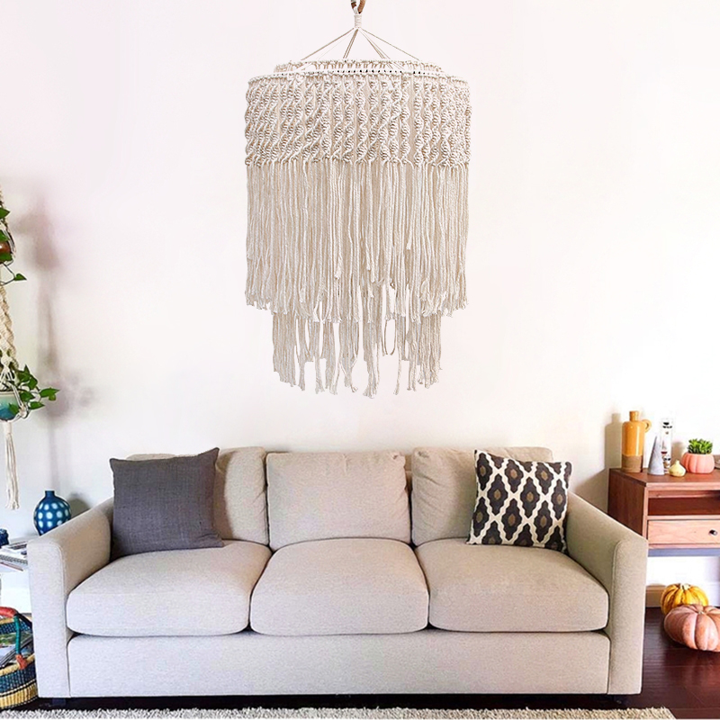 Macramé tissé à la main tenture murale abat jour coque couverture Boho décor tapisserie Homestay meubles décoratifs - 2