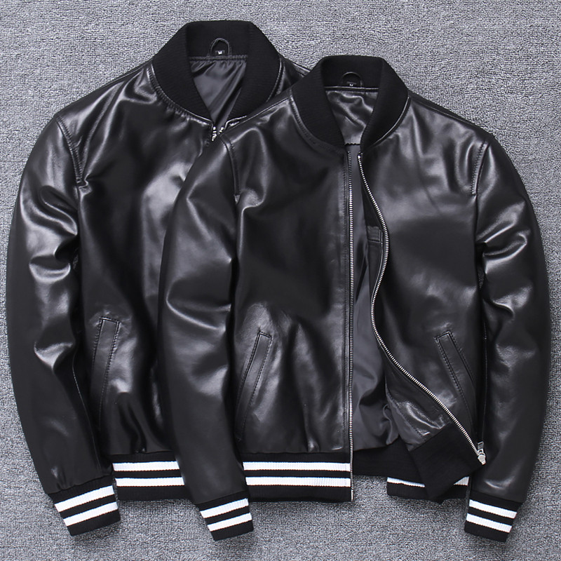 Casual Fashion Lovers Sheepskin Leather Jackets Genuine Leather Coat Couples Women And Man Real Leather Coat 4XL Large Size A801