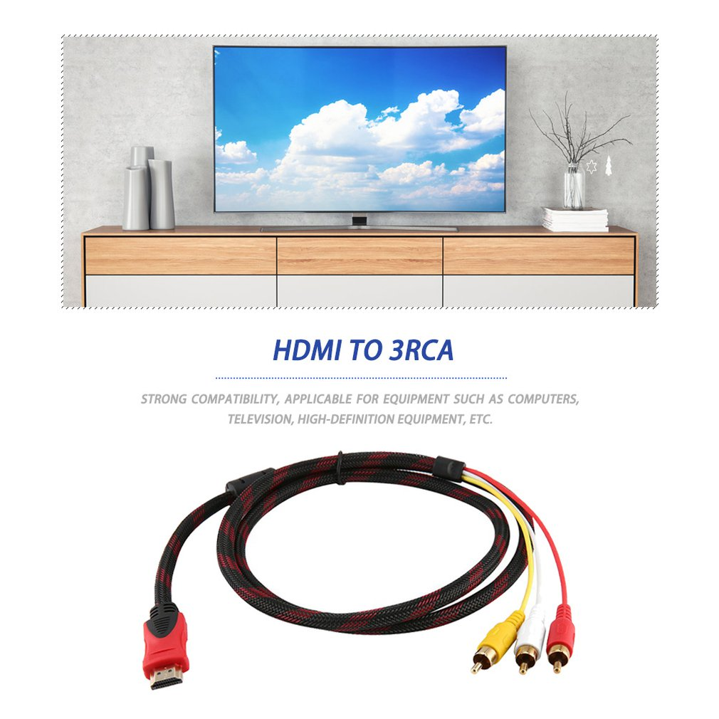 5ft HDMI Male To RCA Video Audio AV Cable Adapter For PS3 PS4 For Xbox One Wii,Hot Sale And Newest In 2018!! Dropshipping