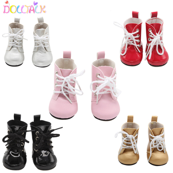 newest brown color doll lace martin boots high quality leather doll shoes 7cm for 18 inch american and 43 new baby dolls toy New Leather Doll Boots 7cm Toy Reborn Baby Shoes For 43cm New Born Dolls Accessories For Our Generation 1/3 BDJ