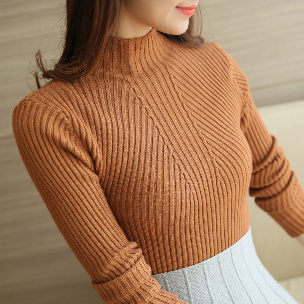 Turtleneck Sweater Women Fashion 2021 New Stretch Tops Women Candy Color Knitted Pullovers Long Sleeve Bottoming Knitted Sweater