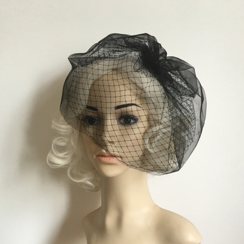 One Layer Short Mesh Birdcage Veil Wedding Party Funeral Hair Accessory