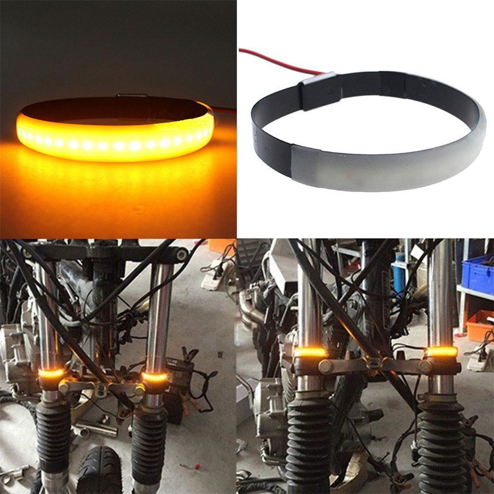 1pc Amber LED Motorcycle Fork Light 120 Degree Viewing Angle Turn Signal Strip For ring shaped turn signal