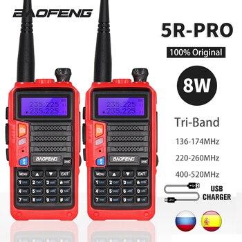 2 conjuntos tri-band baofeng UV-5R pro walkie talkie 8w poderoso rádio presunto em dois sentidos 10km portátil hf fm transceptor atualizar uv 5r uv5r