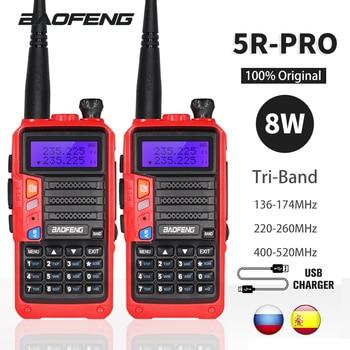 2 takım üç bant Baofeng UV-5R Pro Walkie Talkie 8W güçlü iki yönlü amatör radyo 10KM taşınabilir HF FM verici Upgrade UV 5R UV5R