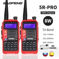 Baofeng-walkie-talkie UV-5R Pro de triple banda, potente Radio amateur bidireccional de 8W, transceptor HF FM portátil, actualización UV 5R UV5R, 10KM, 2 juegos