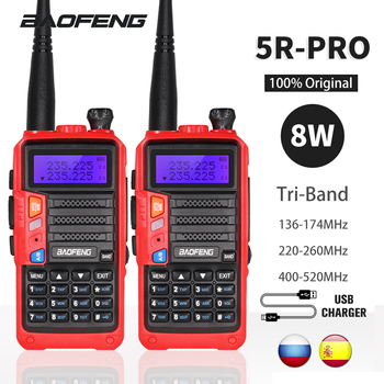 2Sets Tri-Band Baofeng UV-5R Pro Walkie Talkie 8W Powerful Two Way Ham Radio 10KM Portable HF FM Transceiver Upgrade UV 5R UV5R