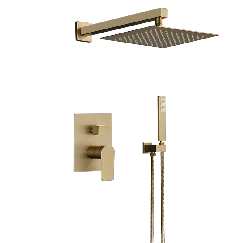 Bathroom Shower Set Brushed Gold Rainfall Shower Faucet Wall or Ceiling Wall Mounted Shower Mixer 8 12 Shower Head