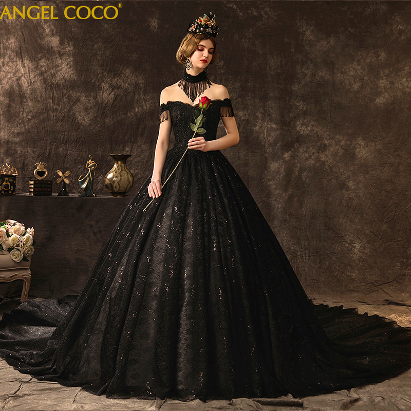 Wedding Dress 2020 Stunning Beading Black Wedding Gown Bridal Dress Luxury Long Train Bride Dress High Quality Royal Wedding