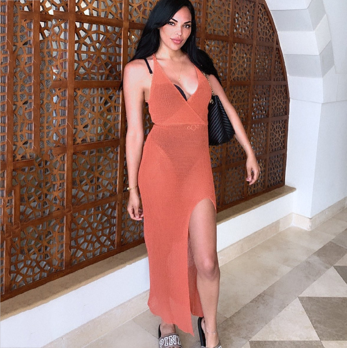 SRUBY White Sexy Beach Dress Women Hollow Out Backless Cover Up Knitted Maxi Dresses Summer See Through Side Split Sexy Dress 5