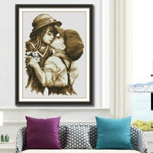New cartoon characters accurate printing cross stitch first kiss fabric crafts home decoration