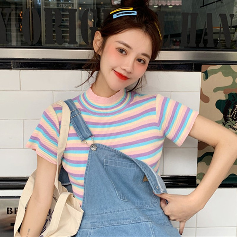2019 Summer T shirt Women Cute Vintage Short Sleeve Turtleneck Color Block Striped Knitted Top T-Shirt camisetas verano mujer* image