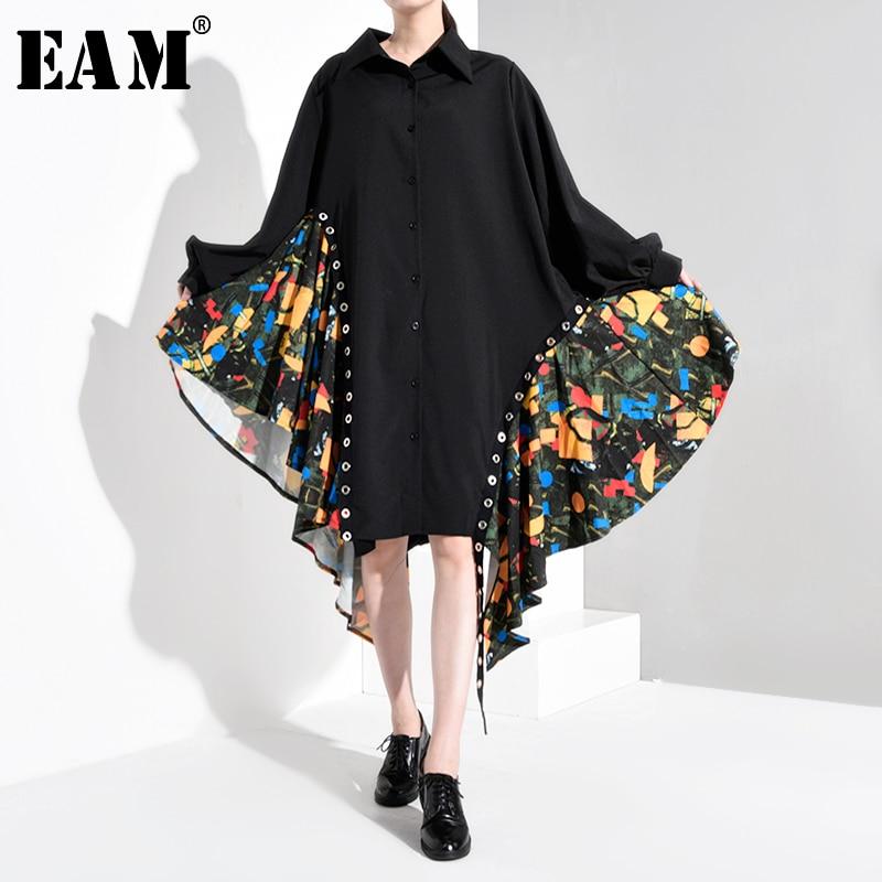 [EAM] Women Black Print Asymmetrical Big Size Shirt Dress New Lapel Long Sleeve Loose Fit Fashion Spring Autumn 2020 1B060