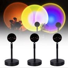 2021 przycisk USB Rainbow Sunset projektor atmosfera Led lampka nocna Home Coffe Shop dekoracja ścienna w tle kolorowa lampa