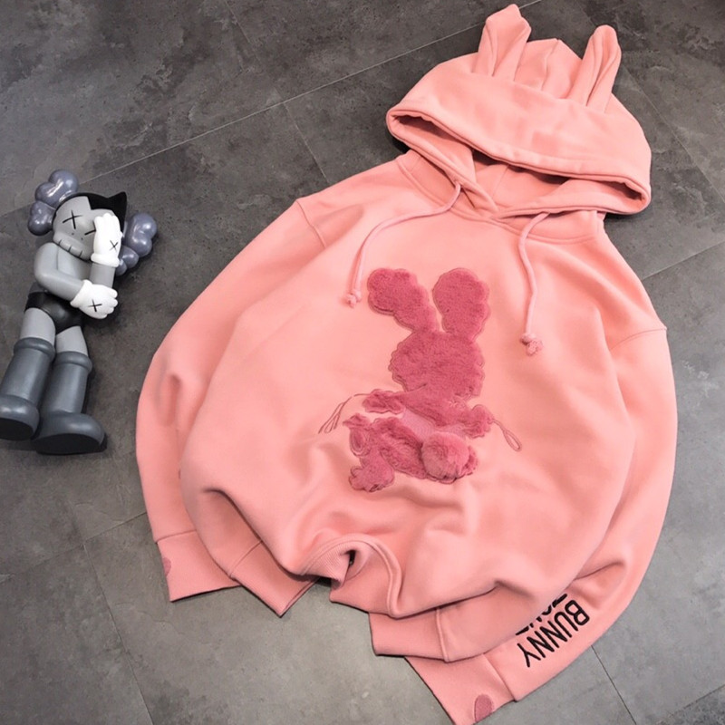 New Women's Versatile Casual Fur Ball Pink Rabbit Embroidery Letters Plush Hoodie Sweatshirt