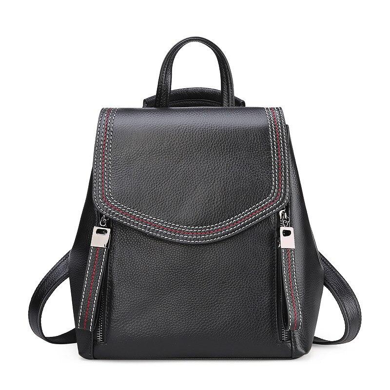 Luxe vintage à la mode en cuir véritable sac à dos femme sacs à fermeture éclair doux pour voyage école femmes grande qualité