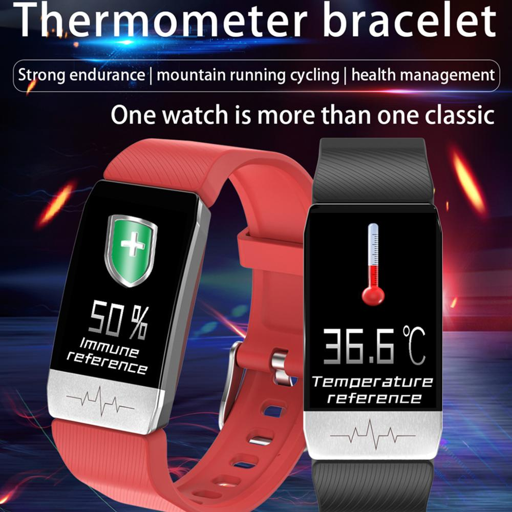 T1 Smart Bracelet With Body Temperature ECG Fitness Tracker Bracelet Heart Rate Monitor Smart Watch Sport Men Women Band VS E66
