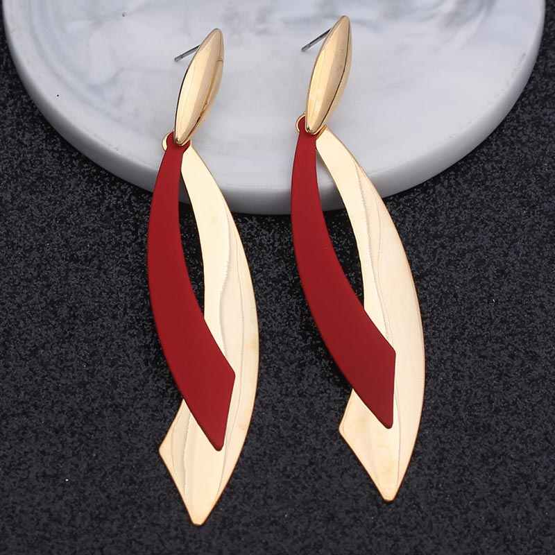 Vintage Metal Geometric Drop Earrings For Women Gold Big Statement Hanging Fashion Dangle Earring Personality Jewelry White Red