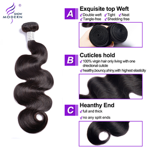 Image 3 - Brazilian Body Wave Bundles With Closure 3 Bundles Human Hair Weaves With Lace Frontal Middle Radio Remy Hair Extensions