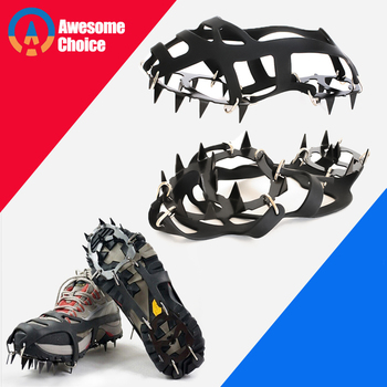 18 Teeth Climbing Crampons for outdoor winter Walk Ice Fishing Snow Shoes Antiskid Shoes Manganese Steel Shoe Covers