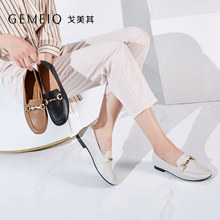 GEMEIQ Women's Shoes 2019 Autumn New Genuine Lether Shoes Square Head Shoes Leisure Comfortable Flat Shoes(China)