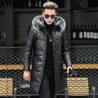 AYUSNUE Genuine Leather Down Jacket Men Winter Sheepskin Coat Fox Fur Collar Hooded Long Real Leather Jacket Men RS89812 KJ4966