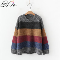 H.SA Winter Warm Sweater and Pullovers for Women 2019 Colorful Striped Oversized Jumpers Rainbow Pull Femme Kawaii Tops Korean