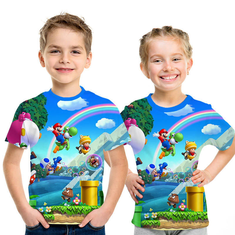 Kids Tee-Shirts Mario Super-Bros Printed Girls Boys Newest for And 3D