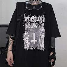QWEEK Gothique Punk Goth Harajuku Tshirt 2021 Emo Style Center Commercial Goth Hauts T-shirts D'été Streetwear Hauts Noirs Hauts Grunge Vêtements D'été