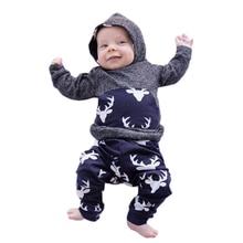 Autumn Cartoon Elk Print  Baby Boy Set Newborn Clothes  for Boys Outfits Kids Suit Baby Costume Sets Infant Clothing 6 - 24M недорого