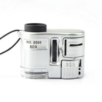 Mini obiektyw 60X lupa kieszonkowa mikroskop z LED światło ultrafioletowe biżuteria edukacja Focus regulowany lupa detektor walut tanie i dobre opinie VAHIGCY 500X i Pod Microscope with hand string Z tworzywa sztucznego PORTABLE Mikroskop biologiczny Monokularowy