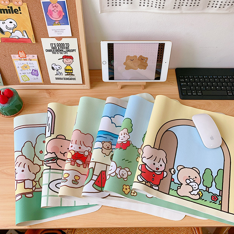 Cartoon Hand-painted Office Mouse Pad Game Mousepad Keyboard Mats Waterproof Compute Anime Desk Cushion Desk Writing Pads