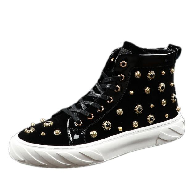 New Men fashion punk rivet comfortable high tops Casual Flats Shoes loafers Male Prom Hip hop