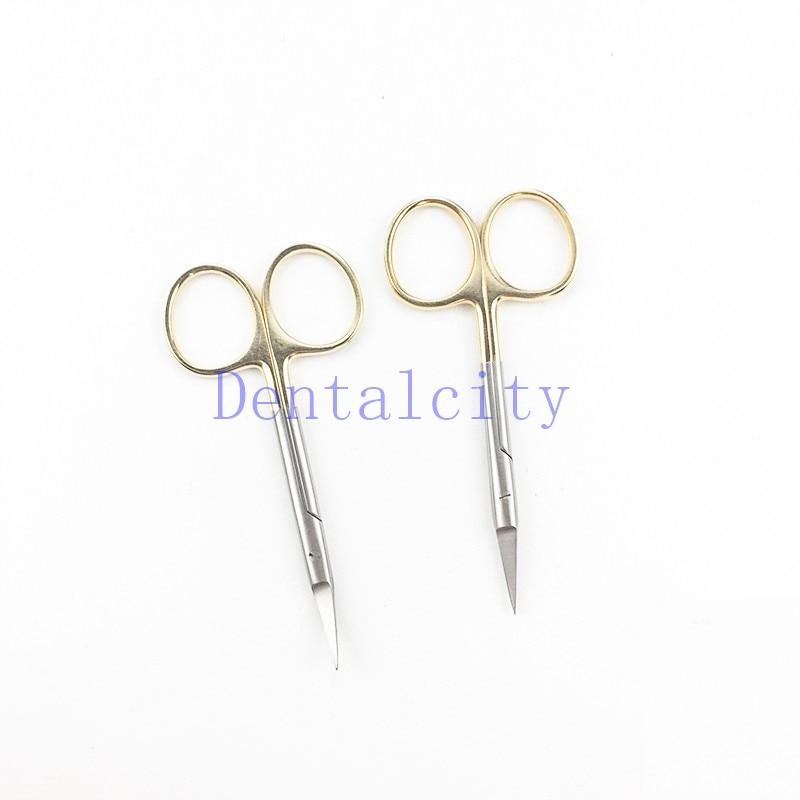 Plastic Surgery Scissors Gold Handle 9.5CM Ordinary Surgical Eye Scissors Beauty Scissors Cut Tissue