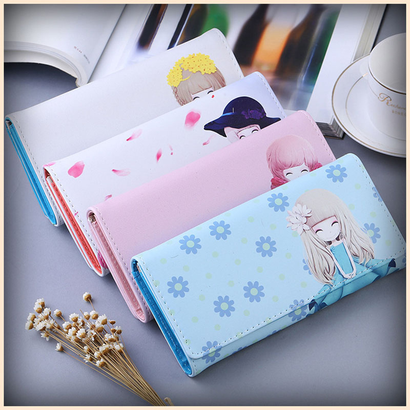 Girls Wallet Character Clutch-Bag Small Long Cartoon Ladies Lady Doll Fresh Wild PU Mobile-Phone-Bag